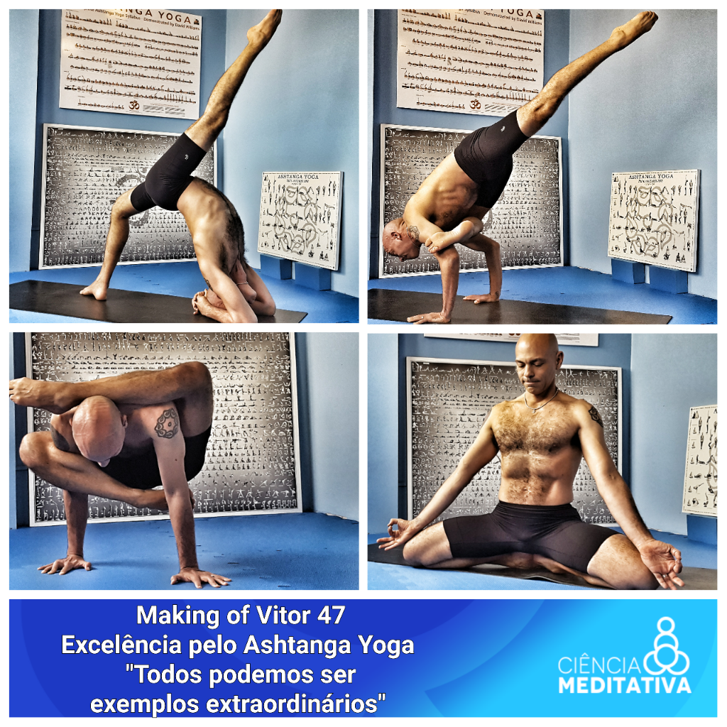Vitor celebrando o aniversário de 47 anos, registrando as posturas avançadas do Ashtanga Yoga